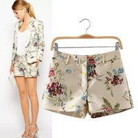 Women's Fashion Stylish Vintage High Rise Floral Shorts [6047957505]