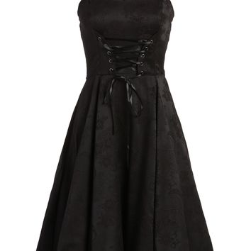 Black Brocade 50s PinUp Rockabilly Retro Dress with Black Lace