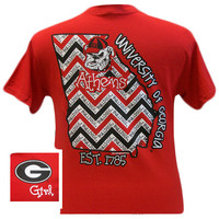 SALE Georgia Bulldogs State Chevron Athens Girlie Bright T Shirt