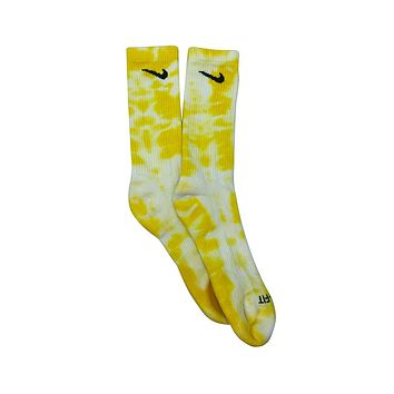 Nike Dri-Fit Tie Dye Yellow White Socks