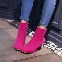 Women Faux Suede High Heels Ankle Boots Chunky Heel Pumps 1402