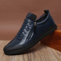 Men's Handmade Genuine Leather Casual High Top Shoes Blue