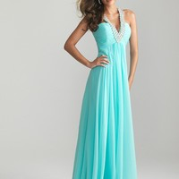 WowDresses — Enhancing A-line V-neck Neckline Sweep Train Prom Dress