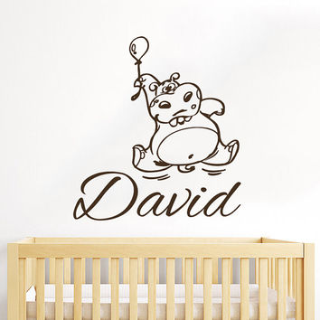 Wall Decal Name Vinyl Sticker Personalized Custom Name Decals Hippo Balloon Kids Baby Name Girls Nursery Boys Room Hippopotamus Decor AN680