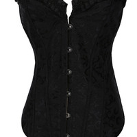 Floral Accent with Ruffled Edge and Back Tie Corset