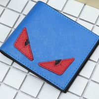 FENDI Fashion Women Men Big Eyes Little Devil Wallet Blue/red eyes