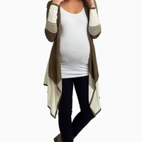 Olive Striped Colorblock Flowy Front Maternity Cardigan
