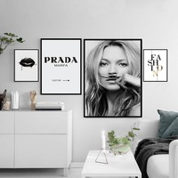 Fashion Make Up Canvas Painting  Black White Posters Prints Salon Wall Art Pictures Living Room Home Decor Drop Shipping