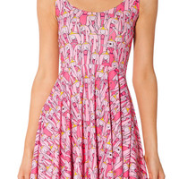 Pink Adventure Time Print Sleeveless High Waisted Pleated Mini Dress