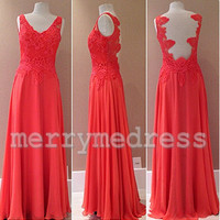 Lace Applique V-Neck Sheer Straps Long Bridesmaid Dress, Floor length Chiffon Formal Evening Party Prom Dress New Homecoming Dress