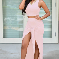 Pink Sleeveless Crop Top and Tie Front Slit Bodycon Maxi Skirt