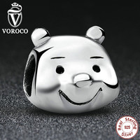 925 Sterling Silver Lovely Bear Portrait Charms Fit Pandora Bracelet & Necklace Bear DIY Jewelry Christma Gift S195