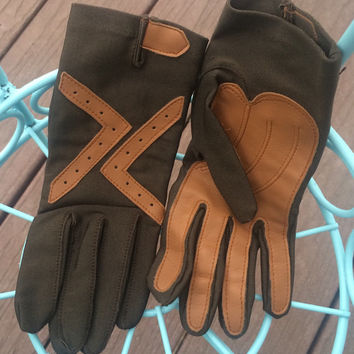 Vintage Steampunk Gloves Olive Green Canvas Light Brown Leather Small Costume Cosplay