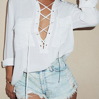 White Lace Up Front Pocket Chiffon Shirt