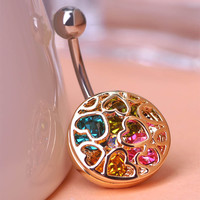 Heart Crystal Rhinestone Piercing Belly Button Navel Ring Body Jewelry