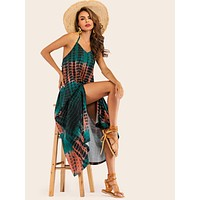 Tie Dye Backless Halter Dress