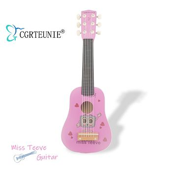 CGRTEUNIE Classical Acoustic 6 String 21 Inch Handmade Wooden Guitar Ukulele Rhyme Developmental Musical Instrument Educational Toy for Toddlers Children Beginner (Miss Teeve) Miss Teeve