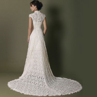 Unique high neckline light champagne lace sweep train wedding dress,wedding gown with pearl