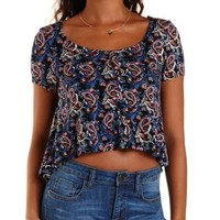 Blue Combo Paisley Caged Back Button-Up Swing Tee by Charlotte Russe