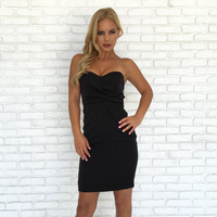 Deluxe Strapless Bodycon Dress In Black