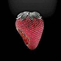 AMAZING LOOKING STRAWBERRY 925 STERLING SILVER ENGAGEMENT AND WEDDING RING