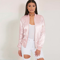 Street Style Satin Zipped Jacket in Multicolor
