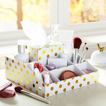 Jane Beauty Collection, 9 Compartment Organizer, Gold Dot