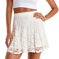 Ivory Textured Lace Skater Skirt by Charlotte Russe