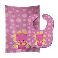 Girl Lion Baby Bib & Burp Cloth BB6829STBU