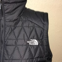 The North Face Womens Black Quilted Full Zip Puffer Vest Size