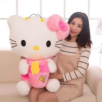 Top Quality Big Bee Hello Kitty Plush Toys Sitting Height 30cm-85cm Soft Stuffed Doll for Children Kids Christmas Birthday Gifts