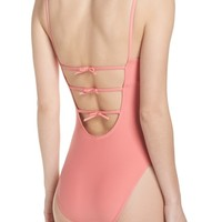 J.Crew Maggie Baby Bow Back One-Piece Swimsuit | Nordstrom