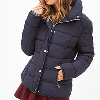FOREVER 21 Classic Puffer Jacket Navy