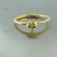 Black Diamond Fox Ring (18k gold plated over sterling silver)