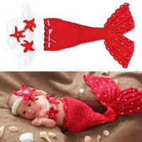 Headband Cloth Romper Red Mermaid Baby Girl Cap Hat Knit Photo Prop Outfit 18851 Apparel & Accessories (Color: Red) = 1958386116