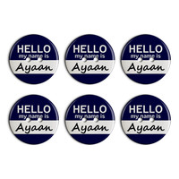 Ayaan Hello My Name Is Plastic Resin Button Set of 6