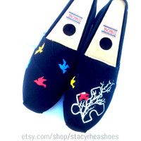 Autism Awareness Custom Toms with puzzle piece, birds and tree
