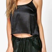 Zoe Satin Cami And Eyelash Lace Trim Short
