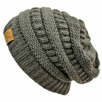 Charcoal Grey Over-Sized Slouchy Cable Knit Unisex Beanie Cap Hat