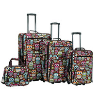 Rockland Owl 4-piece Expandable Wheeled Rolling Upright Luggage Set | Overstock.com Shopping - The Best Deals on Four-piece Sets