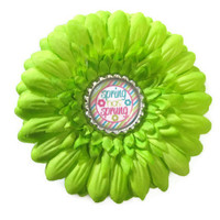 Neon green flower hairclip, girls spring has sprung flowers, bright fluorescent green camp colors, great as a photo prop
