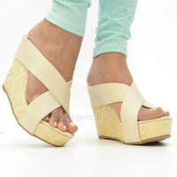 Platform Wedge Sandals Cream Beige Faux Leather Strappy Pretty Summer Fashion