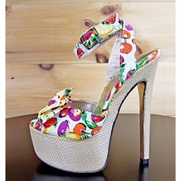 Luichiny Love Potion White Red Fruit Print Bow Strap Platform Shoe