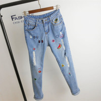 New Women Denim Embroidery Print Pants Loose High Female Pencil Pants Plus Large Size Jeans Ankle Length Trousers 72153 GS