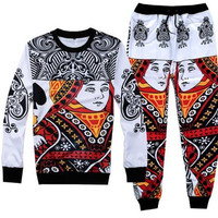 Queen Of Spades Printed Streetwear Sweatshirt & Sweatpants Mens Womens Tracksuit Set Track Suit Jogger Set