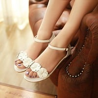 Ankle Strap Genuine Leather Flower Flat Sandals 1186