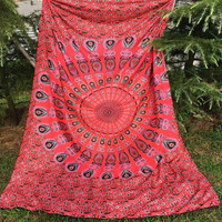 India Mandala Rose Red Beach Throw, Bed Manta, Yoga Mat,Tapestry 210*150cm