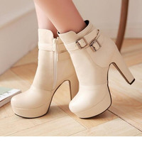 Ankle boots women Fashion 2015 New Faux pu leather high-heeled platform booties metal belt buckle big size fashion boots