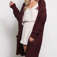 open-front long-line cardigan - red bean