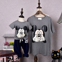 Family Matching Outfits Cartoon T shirt Family Clothing Mother and Daughter Clothes Mom and Baby Clothes Cartoon Clothing, WY15